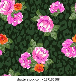 pretty classical roses over animal print - seamless