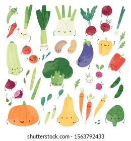 Pretty collection of cartoon vegetable characters isolated on white background. Cute and funny vector set of emoticons: Pumpkin, Potato, Tomato, Pepper, Radish, Broccoli and Eggplant and others
