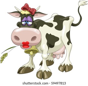 A pretty cow with a bow