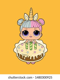 Pretty cute girl with a doll eyes holding a cake. Birthday invitation, invite friends to the party. celebrate a holiday. unicorn horn on a head. Lol cartoon style. vector isolated illustration