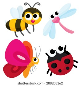Pretty cute little cartoon bugs like honey bee, dragonfly, butterfly and ladybug vector illustration.