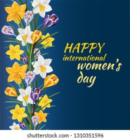 Pretty Daffodil and Crocus. Festive floral border for your season design. Typography 8 March International Women's day banner.  Floral Greeting card for Mothers day. Vector Spring Celebration Template
