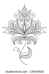 Pretty dainty ornate vintage floral motif in a black and white calligraphic outline, vector illustration
