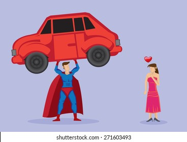 Pretty damsel in distress fall in love with superhero who shows off strength by lifting a car. Vector cartoon illustration isolated on plain purple background.