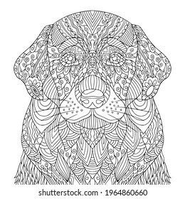 Pretty dog coloring book page for adult. Puppy vector line art with doodle and zentangle elements for antistress. Domestic animal illustration. - Shutterstock ID 1964860660