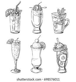 Pretty drinks. Vector hand drawn illustration in black & white