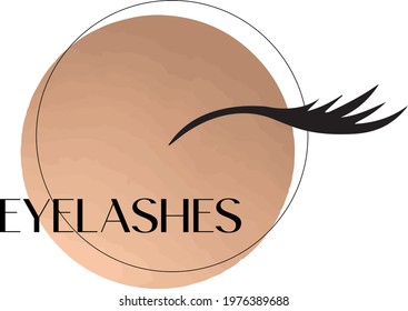 Pretty eyelashes extension logo. Vector illustration luxury.