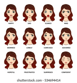 Pretty face woman with emotions of joy, happiness and others. Vector illustration