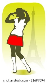 Pretty fashion girl with Tour d'Eiffel silhouettes. Black woman model. Design elements for flyers or banners.