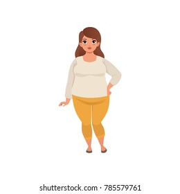 Pretty fat woman posing isolated on white. Cartoon character of caucasian brunette girl with brown hair in beige blouse and yellow pants. Isolated flat vector design