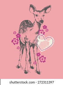 Pretty Fawn & Lace Baby/Toddler/Young Girls Tshirt Silkscreen
