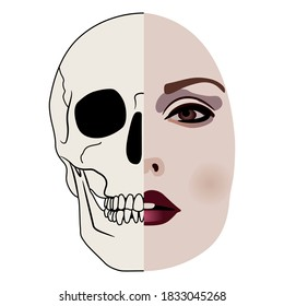 Pretty female face half alive half skull. Creative concept. Vita brevis. Memento mori. Femme fatale. Juxtaposition of life and death.