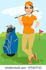 pretty female golfer with golf club