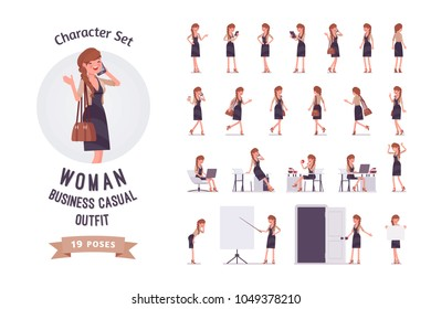Pretty female office employee in elegant dress at modern workplace ready-to-use character set. Business casual women fashion concept, full length, different views, gestures, emotions, front, rear view