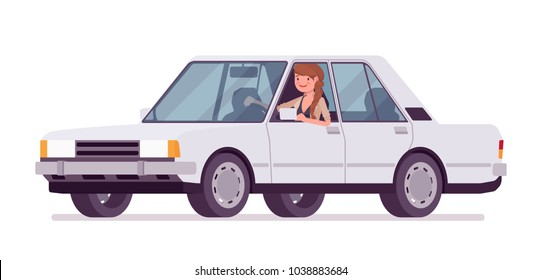 Pretty female office employee riding a white car, city vehicle, happy smiling on way to work. Business casual women fashion concept. Vector flat style cartoon illustration isolated, white background