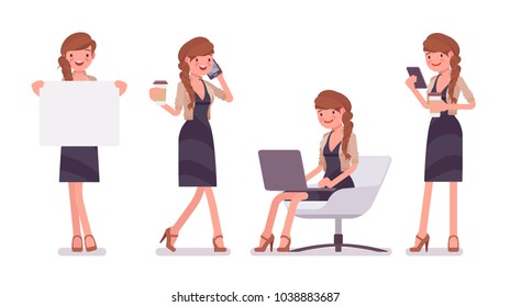 Pretty female office employee sitting at chair, working with laptop and phone, holding banner. Business casual women fashion concept. Vector flat style cartoon illustration isolated, white background