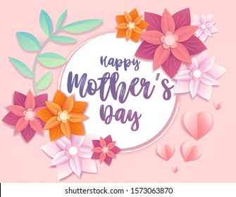 Pretty floral Happy Mothers Day greeting card design on a pink background with colorful origami 3d effect paper summer flowers and hearts around central text, vector illustration