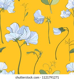 Pretty floral pattern with flowers of sweet peas. Yellow background. Flowers, leaves, pods, and tendrils pastel-colored. Elegant the template for fabric, paper, postcard.