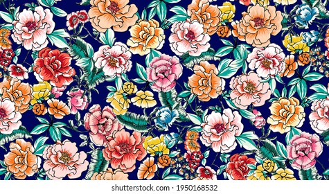 Pretty floral pattern with roses and leaves perfect for decoration and textile