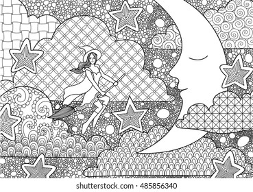 Pretty with flying through sleeping crescent at night, design for adult coloring book pages for anti stress and design element for Halloween card
