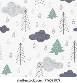Pretty forest seamless pattern with trees, clouds and raindrops. Baby scandinavian style nature illustration. Cute abstract forest design for textile, wallpaper, fabric.