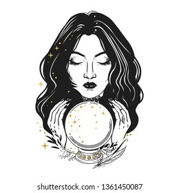 Pretty fortune teller looking through a crystal ball. Vector hand drawn illustration