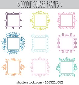 Pretty freehand blank decorative square doodle frames colored outline set, Princess crown, flowers, leafs, hearts, sea shell, star, floral simple linear art, Fun empty circle picture border