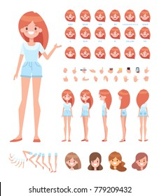 Pretty girl for animation. Front, side, back, 3/4 view character. Separate parts of body. Cartoon style, flat vector illustration.