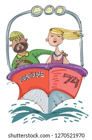 A pretty girl and a bearded sailor in a posh motor boat. Cartoon. Caricature.