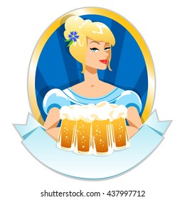 Pretty girl with beer, Oktoberfest label with ribbon banner and space for text, isolated