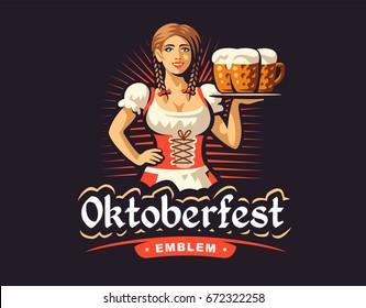 Pretty girl with beer, Oktoberfest logo design on dark background