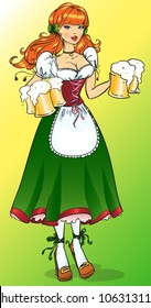 Pretty girl with beer, Oktoberfest or St. Patrick's day girl
