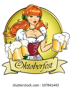 Pretty girl with beer, Oktoberfest or St. Patrick's day logo design with space for text, invitation