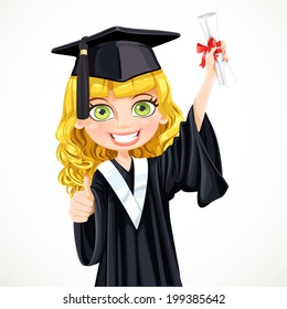 Pretty girl in cap and gown graduate holding a scroll diploma