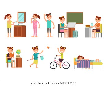 Pretty girl child daily schedule vector illustration. Girl everyday routine, daily lifestyle