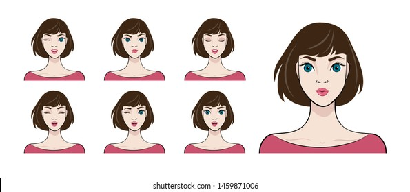Pretty Girl with different facial expressions. Set of woman's emotions.  Vector illustration of cartoon style