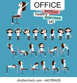 Pretty girl is doing exercises on the office chair.Woman in healthy poses set. Vector illustration.