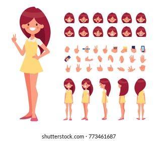 Pretty Girl in dress character constructor with various views, emotions and gestures. Front, side, back, 3/4 view for animation. Separate parts of body. Cartoon style, flat vector illust