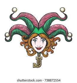 Pretty girl face with joker make-up in masquerade hat drawn in tattoo style. Vector illustration.