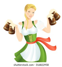 Pretty girl in german traditional dress with beer