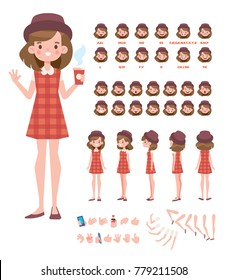 Pretty girl in hat for animation. Front, side, back, 3/4 view character. Character Constructor. Separate parts of body. Cartoon style, flat vector illustration.