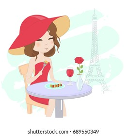 Pretty girl having dinner in a street cafe in Paris hand draw vector illustration. Beautiful elegant woman in red hat and red dress eating ratatouille and drink wine in restaurant near Eiffel Tower
