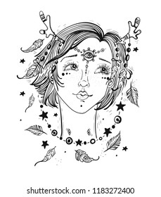Pretty girl with horns in her hair, feathers and beads. Female portrait, hippie character, fairy or nymph. boho style illustration for stickers, coloring book, t-shirt design and other