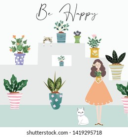 Pretty girl and kitty cat  be happy with  flowerpot cartoon,illustration vector doodle comic art for any card.