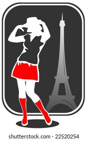 Pretty girl on a background of Tour d'Eiffel silhouette.