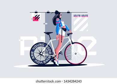 Pretty girl on roadbike vector illustration. Gorgeous woman standing on road with professional bicycle in trendy outfit and black sunglasses. Inscription on wheel flat style concept