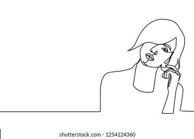 Pretty girl one continuous line drawing vector illustration. Beauty face character minimalist design isolated on white background.