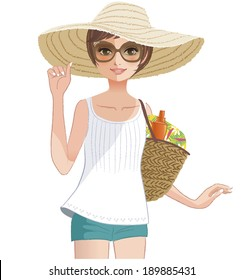 Pretty girl posing in a wide brimmed straw hat. File contains clipping mask, Gradients, Transpaency.
