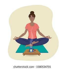 Pretty girl practices yoga sitting on the Saddhasana and enjoys the smell of aroma oil. Vector illustration in cartoon style