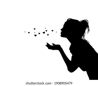 Pretty girl sending air hearts kiss black silhouette isolated on white background.Woman profile stencil drawing.Beautiful lady vector illustration.Print.Vinyl wall sticker decal.Valentine's day decor.